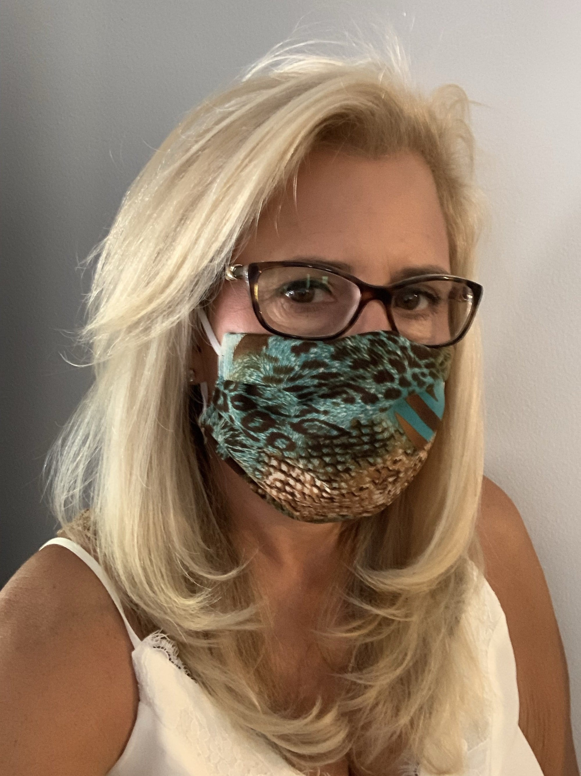 Stacy Bradley Design Face Mask Teal Leopard equestrian team apparel online tack store mobile tack store custom farm apparel custom show stable clothing equestrian lifestyle horse show clothing riding clothes horses equestrian tack store