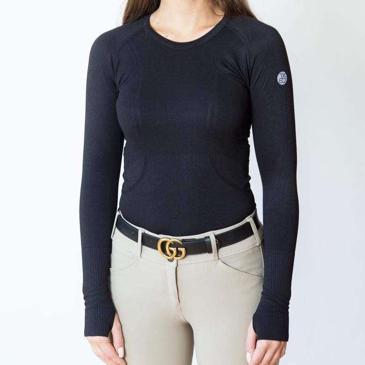 TKEQ Women's Casual Shirt Kennedy Seamless Long Sleeve Shirt - Black equestrian team apparel online tack store mobile tack store custom farm apparel custom show stable clothing equestrian lifestyle horse show clothing riding clothes horses equestrian tack store
