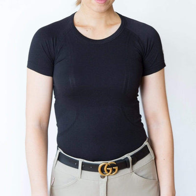 TKEQ Women's Casual Shirt Kennedy Seamless Short Sleeve Shirt- Black equestrian team apparel online tack store mobile tack store custom farm apparel custom show stable clothing equestrian lifestyle horse show clothing riding clothes horses equestrian tack store