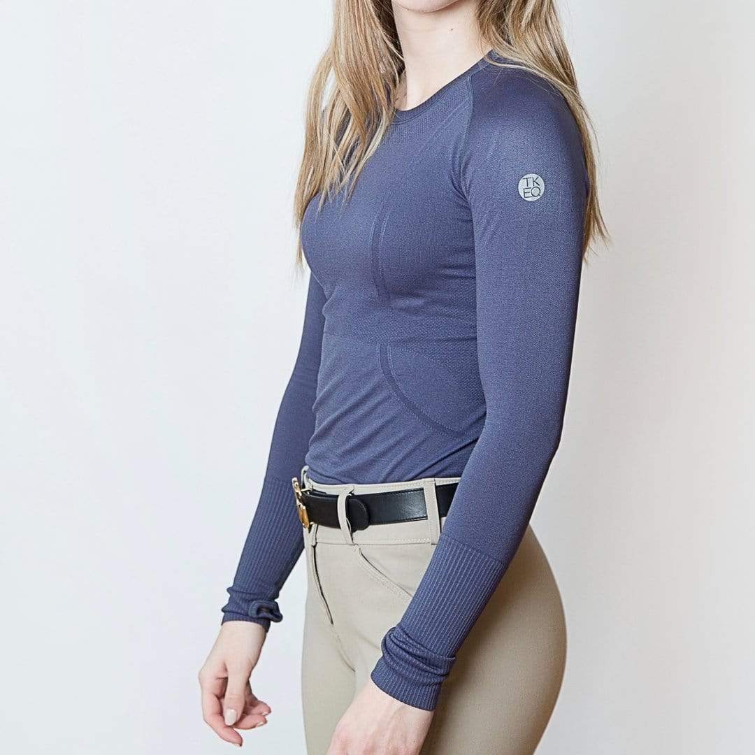 TKEQ Women's Casual Shirt Kennedy Seamless Long Sleeve Shirt - Midnight equestrian team apparel online tack store mobile tack store custom farm apparel custom show stable clothing equestrian lifestyle horse show clothing riding clothes horses equestrian tack store