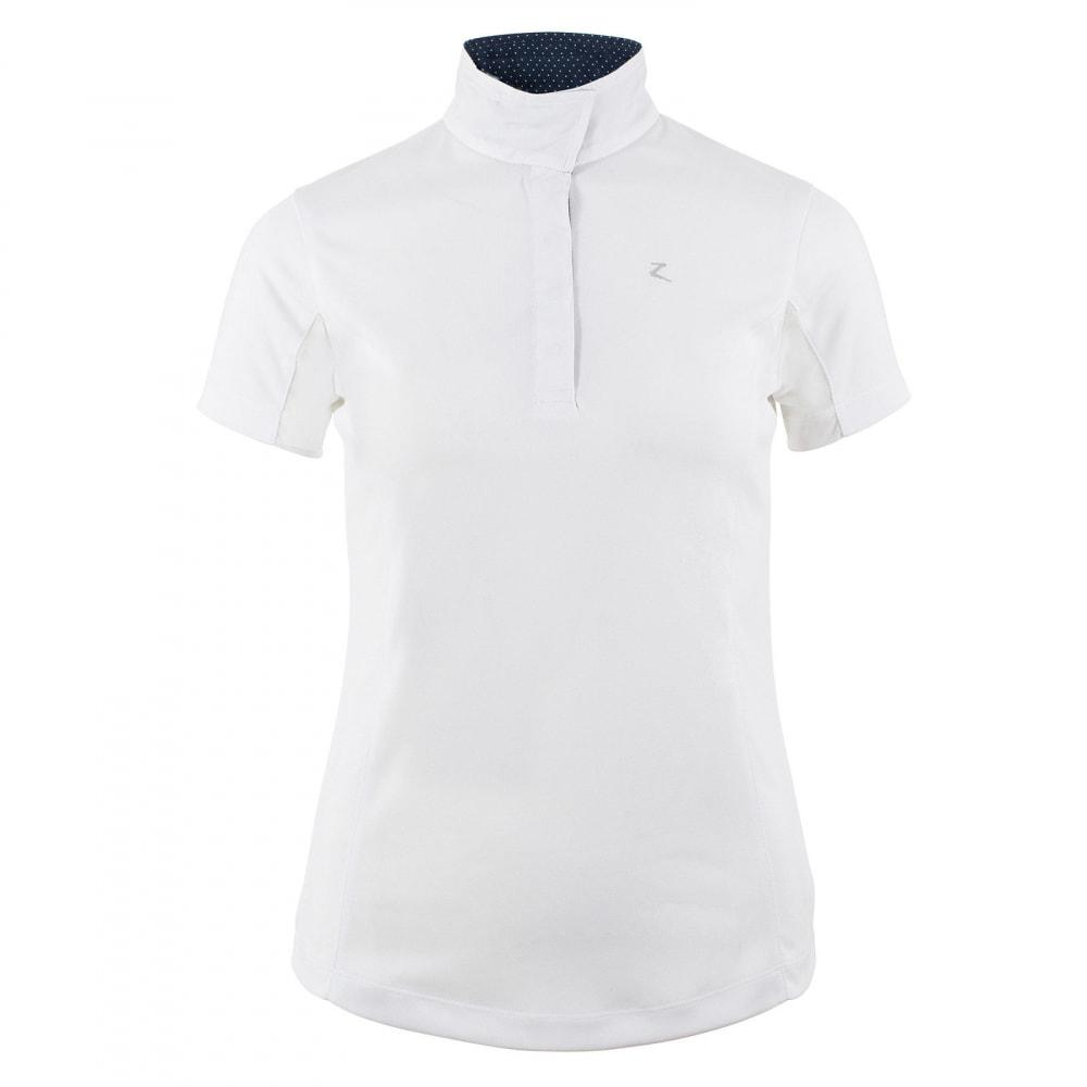 Horze Sunshirt US 4 (EU 34) / White/Dark Navy Horze Women's Blaire Show Sun Shirt - Short-Sleeved equestrian team apparel online tack store mobile tack store custom farm apparel custom show stable clothing equestrian lifestyle horse show clothing riding clothes horses equestrian tack store