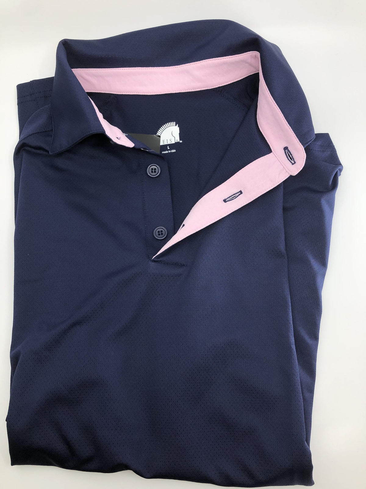 EIS Men's Shirts M/XS Men's Navy/Pink EIS Short Sleece equestrian team apparel online tack store mobile tack store custom farm apparel custom show stable clothing equestrian lifestyle horse show clothing riding clothes horses equestrian tack store