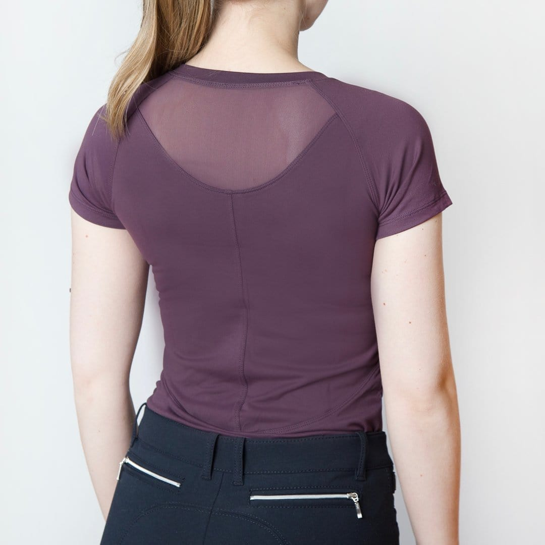 TKEQ Women's Casual Shirt Mia Short Sleeve Shirt -Plum equestrian team apparel online tack store mobile tack store custom farm apparel custom show stable clothing equestrian lifestyle horse show clothing riding clothes horses equestrian tack store