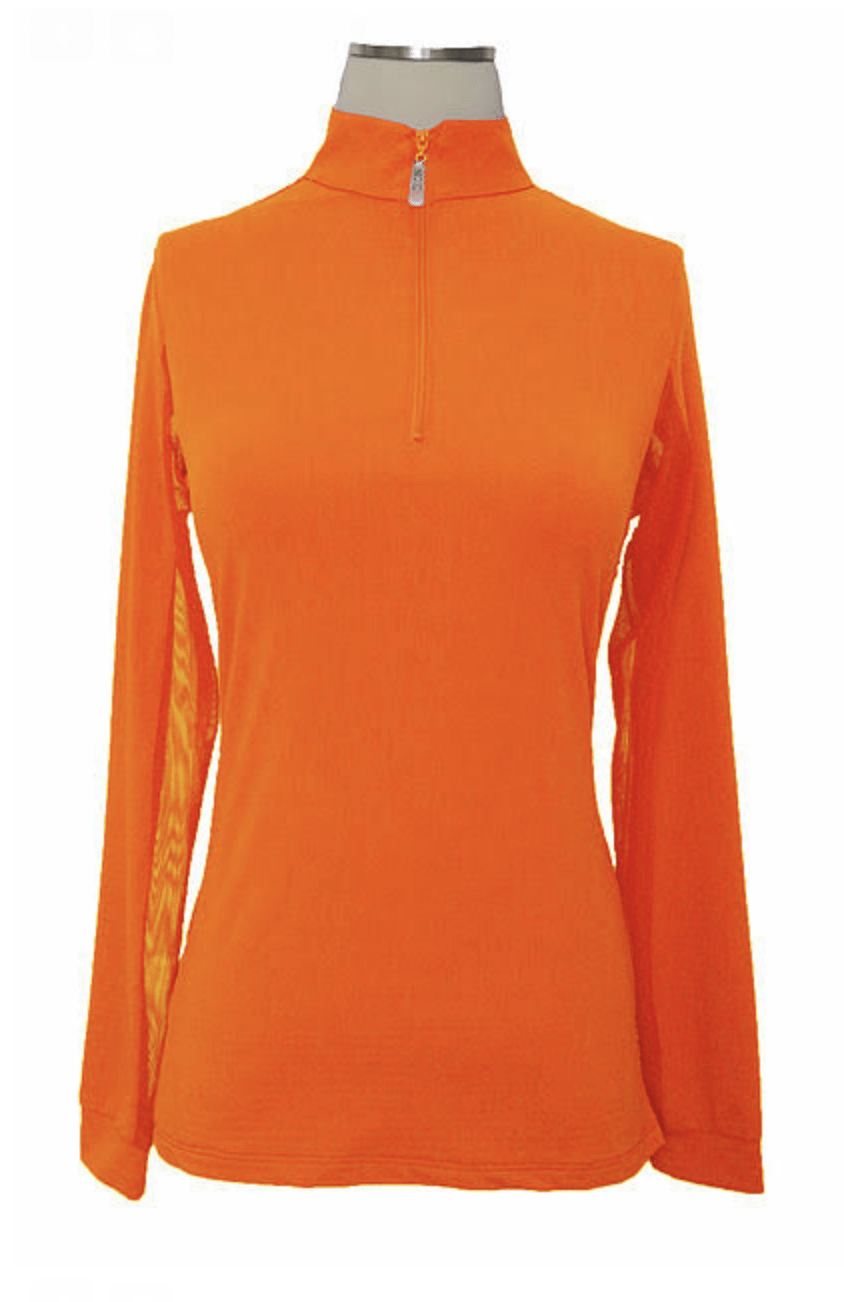 EIS Sunshirt EIS Orange Womens Long Sleeve equestrian team apparel online tack store mobile tack store custom farm apparel custom show stable clothing equestrian lifestyle horse show clothing riding clothes Wear a flattering sunshirt when you ride | made in the USA horses equestrian tack store