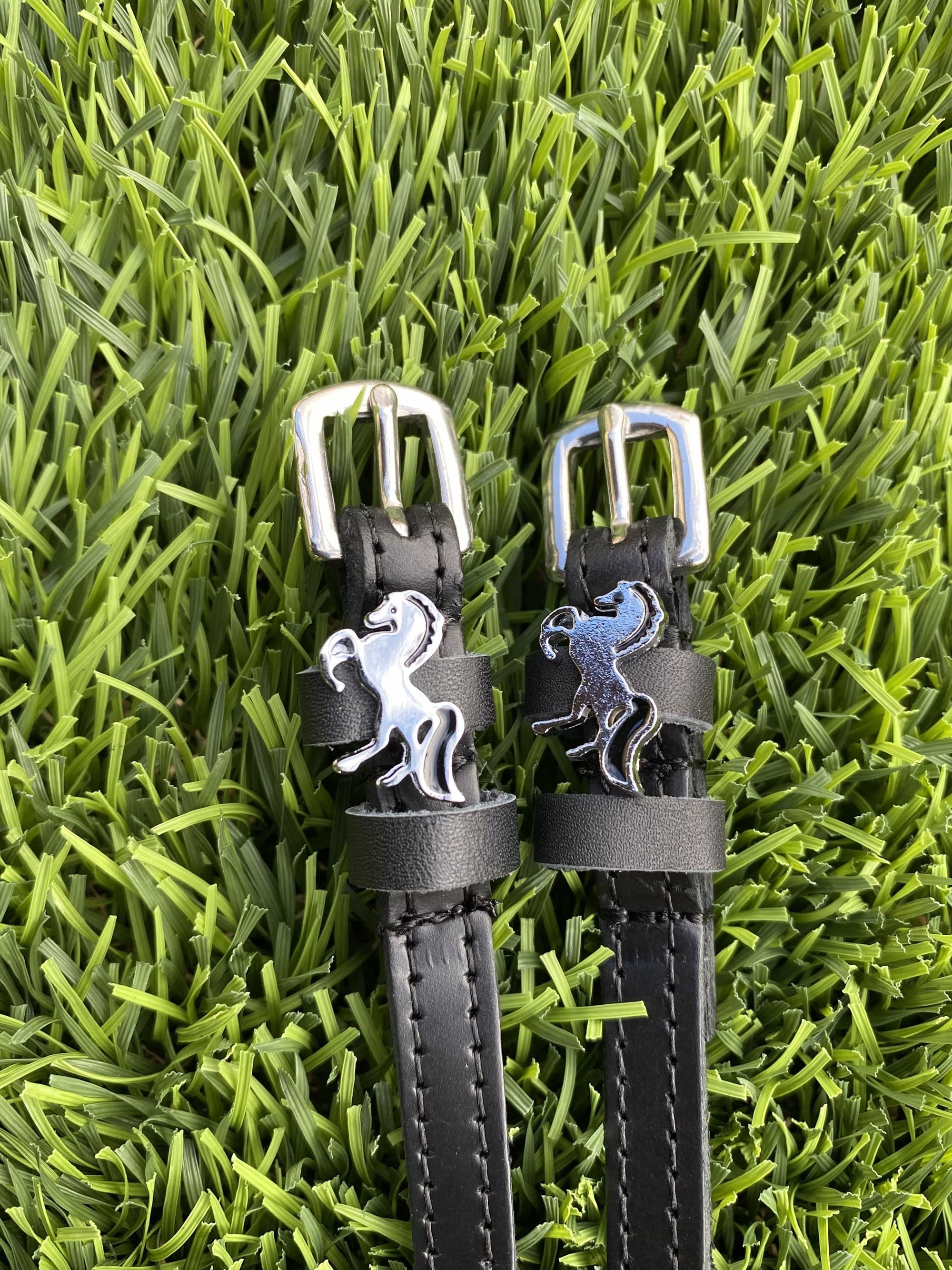 ManeJane Black Spur Straps Silver Pony Power equestrian team apparel online tack store mobile tack store custom farm apparel custom show stable clothing equestrian lifestyle horse show clothing riding clothes horses equestrian tack store