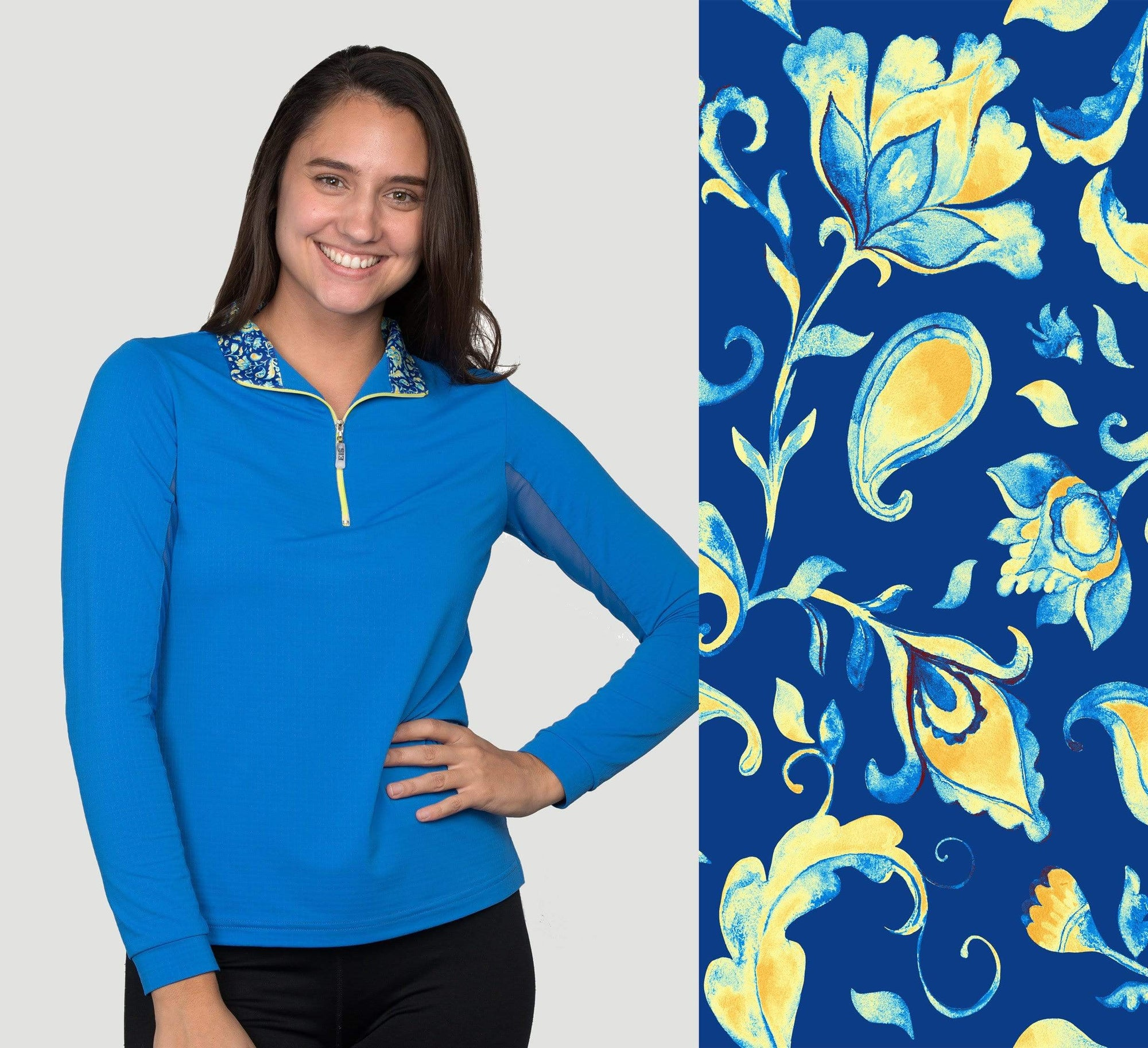 EIS Sunshirt Kentucky Blue Paisley Long Sleeve equestrian team apparel online tack store mobile tack store custom farm apparel custom show stable clothing equestrian lifestyle horse show clothing riding clothes Wear a flattering sunshirt when you ride | made in the USA horses equestrian tack store