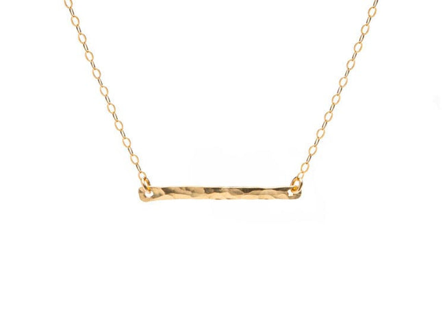 Gold Hammered Bar Necklace