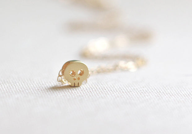 Mini Gold Skull Necklace
