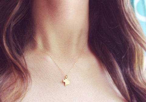 Tiny Gold Texas State Necklace