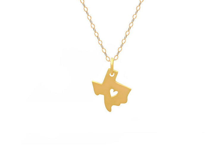 I Heart Texas Necklace Gold