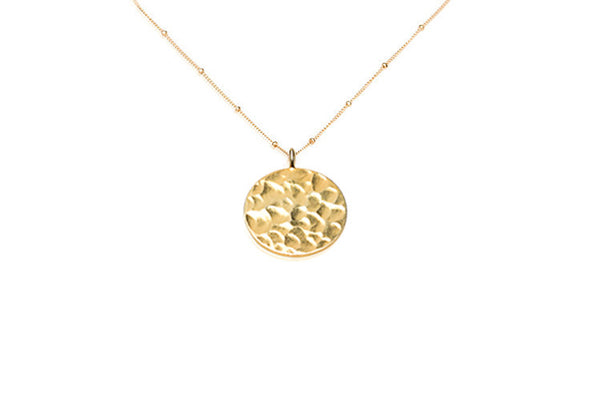 Long Hammered Coin Necklace