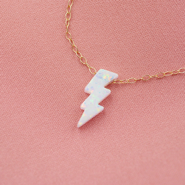 Opal Lightning Bolt Necklace