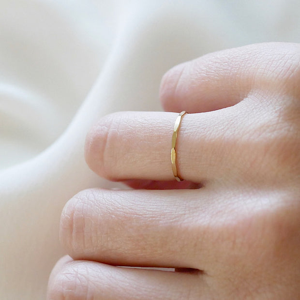 Hammered Slim Stacking Ring