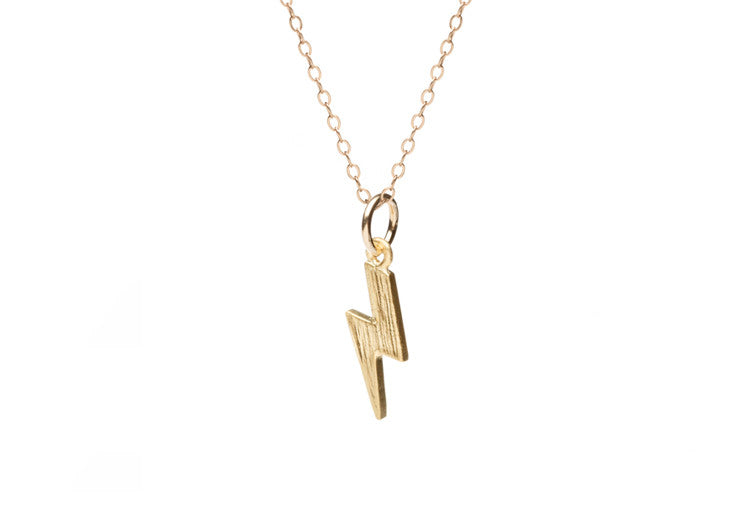 Tiny Gold Lightning Bolt Necklace