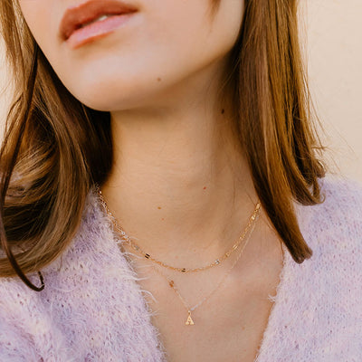 Mini Gold Initial Necklace