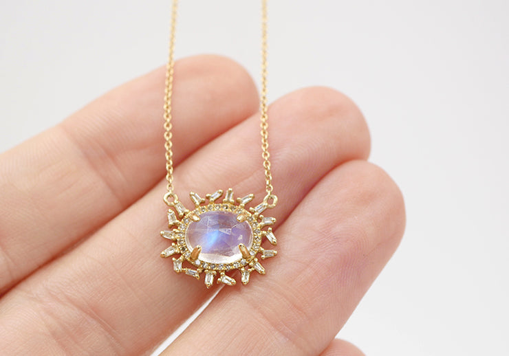 Moonstone and Diamond Baguette Necklace
