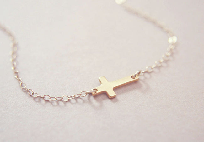Tiny Gold Sideways Cross Necklace