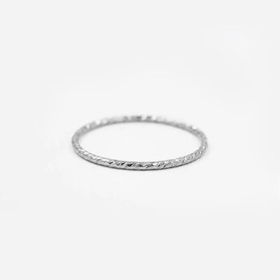 Textured Slim Stacking Ring Silver