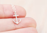Tiny Silver Anchor Necklace