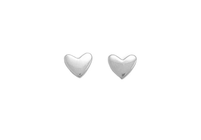 Tiny Silver Heart Studs