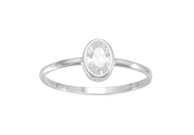 CZ Oval Solitaire Ring