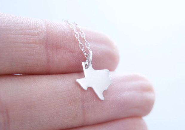 Tiny Silver Texas State Necklace