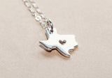 I Heart Texas Necklace Silver
