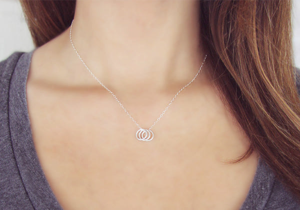 Three Silver Rings Necklace