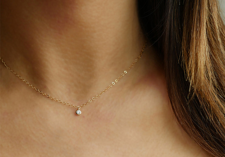 Solitaire CZ Drop Necklace