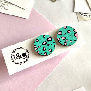 Green and Pink Leopard Studs