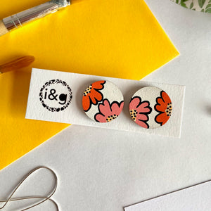 Pink and Orange Flower Stud