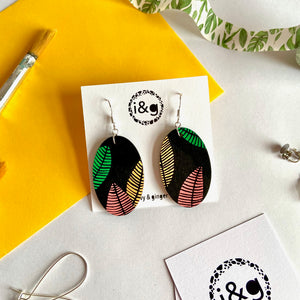 Leaf Print Oval dangles