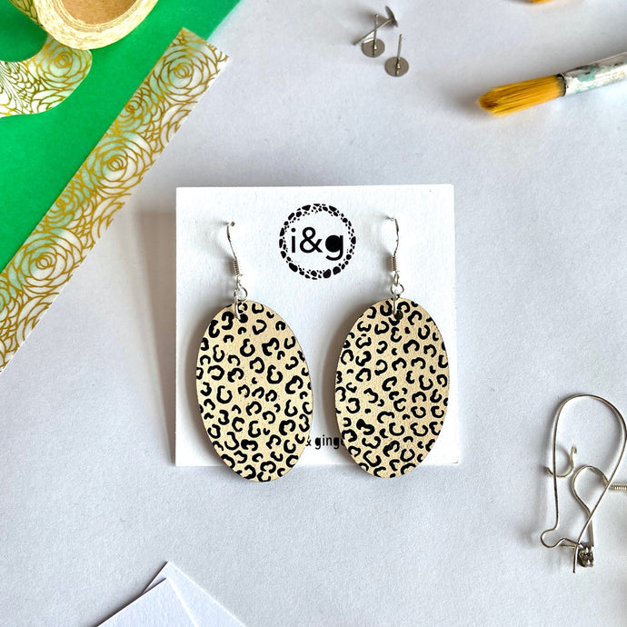 Beige and Black Cheetah Print Oval dangles