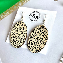 Load image into Gallery viewer, Beige and Black Cheetah Print Oval dangles