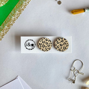 Beige and Black Cheetah Print Circle Studs