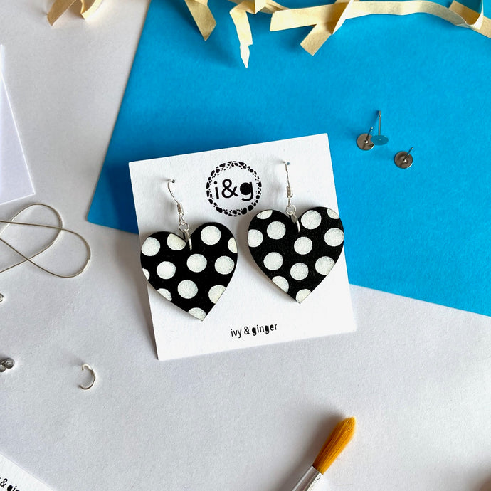 Black and White Polka Heart Dangles