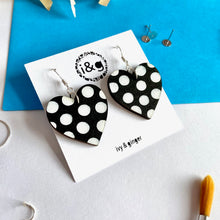Load image into Gallery viewer, Black and White Polka Heart Dangles