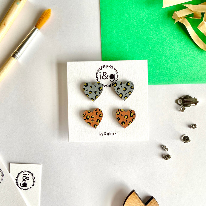 Gold Leopard Mini Heart Studs