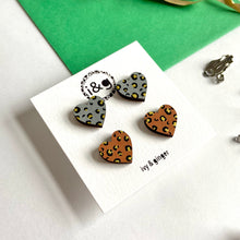 Load image into Gallery viewer, Gold Leopard Mini Heart Studs