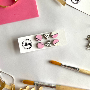Pink and White Mini Studs