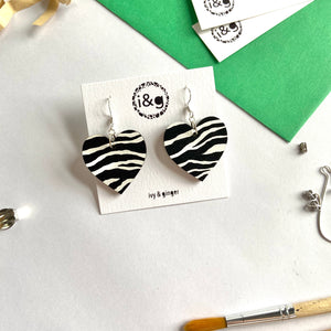 Zebra Heart Dangles