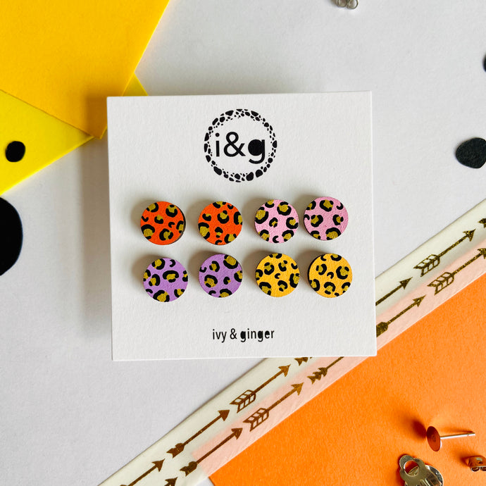 Bright Mini Leopard Print Stud Set