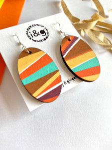 70's Layer Stripes Print Oval dangles