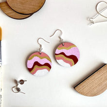 Load image into Gallery viewer, Pink and Gold Frills Drop Circle Earrings