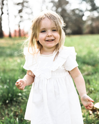 Baby Ruffled Off White Linen Dress 'Abella'