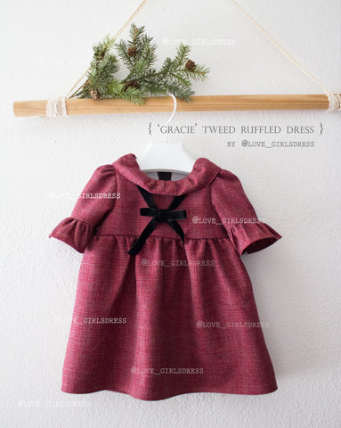 Gracie Tweed Ruffled Dress