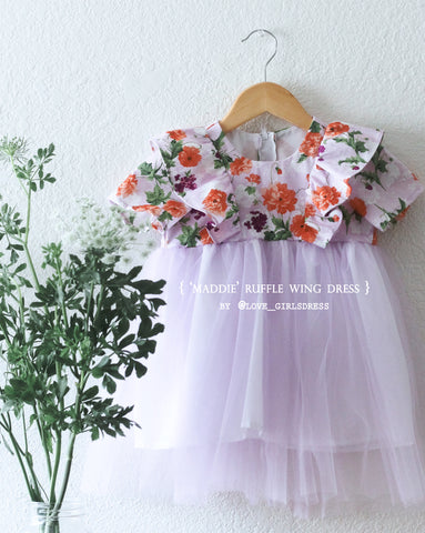 Floral Ruffled Wing Tulle Dress-Maddie