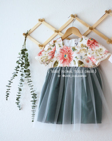 Floral Tulle Dress-Susie