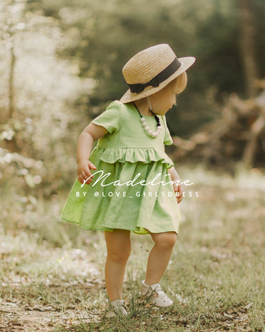 Ruffled Lime Green Linen Dress 'Madeline'