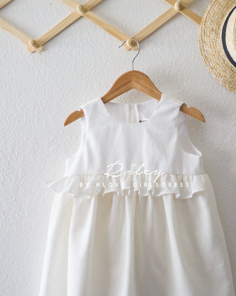 3fe9a29b4e ... Summer Off-White Linen Dress  Riley  ...
